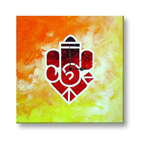 Giftsmate Diwali Gifts, Aesthetic Lord Ganesha Wall Clock Wooden Canvas Artistic - 30 inches