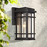 Neri Mission Outdoor Wall Light Sconce Fixture Oil Rubbed Bronze 12 1/2' Clear Seedy Glass Decor for Exterior House Porch Patio Outside Deck Garage Yard Front Door Garden Home - John Timberland