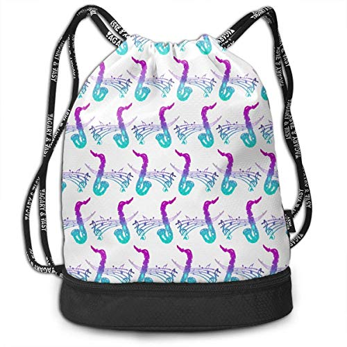 Petrichor Yi Sport Unisex Bundle Trekkoord Rugzak Mooie Jazz Saxofoon Muziek Travel Gym Sack Multifunctionele dagrugzak