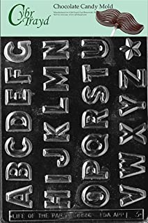 N CybrtraydLetters-M P O R Letters and Numbers Chocolate Mold with Chocolatiers Bundle Q Includes 25 Cello Bags and 25 Silver Twist Ties