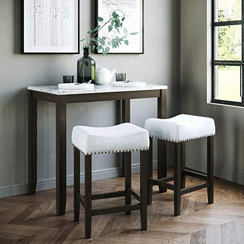 Nathan James Viktor 3 Piece Dining Set, Heigh Kitchen Counter Pub or Breakfast Table with Marble Top and Fabric Wood Base Seat, Gray/Dark Brown