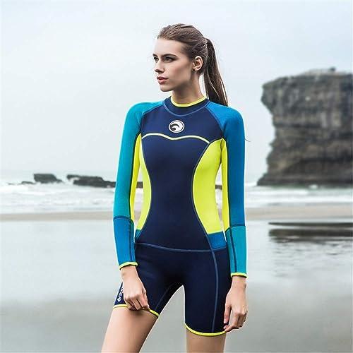 OTO Combinaison néoprène à Manches Longues pour Femmes de 1,5 mm, Surf Diving EquipHommest Convient à Une Seule pièce de vêteHommests à Manches Longues équipée pour Surfer Chaud,bleu,M