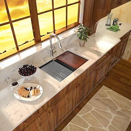 Undermount Bar Sink - Sarlai 23 Inch Kitchen Sink Ledge Workstation Single Bowl 16 Gauge Stainless Steel RV Sink Bar Prep Sink Basin Kitchen Sink