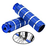 JZY Bike Pegs for Bike Mountain Bike Cycling Rear Stunt Pegs Pedals, 1 Pair Fits 3/8 inch Axles 26 Teeth Foot Pedals (Blue