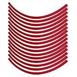 Car Motorcycel Wheel Reflective Pinstripe Decal Tape Sticker Decoration Film Sticker Fluorescent Reflective Car Decals 6 Colors Universal(Red)