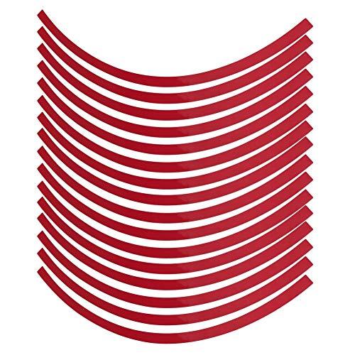 16 Stück Radaufkleber, Universal Auto Motorrad Rad reflektierende Nadelstreifen Aufkleber Klebeband Aufkleber, Rad Dekoration Film(Groß Rot)