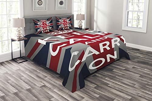 Ambesonne - Colcha con la Bandera del Reino Unido, con Texto en inglés Keep Calm and Cary On Cote, con Fundas de Almohada, Color Azul Marino, Rojo, Blanco