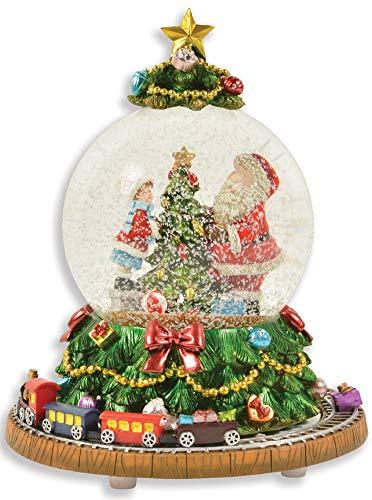 """Riffelmacher Spieluhr Schneekugel""""Weihnachtsbaum mit umfahrender Eisenbahn"""" 72292 - Schneeflocken und Musik - 18cm - Wunderschöne Glaskugel mit Dekoration Weihnachten"""