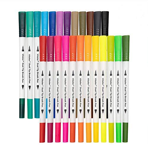 Feutre Bullet Journal, 0,4 mm Double pointes feutre fine et pinceau Couleur à l'eau Stylos de dessin pour Bullet Journal, Mandalas, Calligraphie, 24 Couleurs