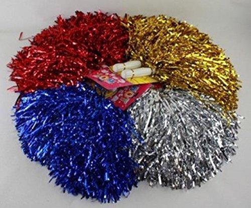 diverse 6 Stück Pom Poms Pom Pom Metallic Schimmer Puschen Cheerball Tanzwedel Lametta Cheerleader Puschel Tanzpuschel Cheerleader Pompons Karneval Fasching Party Event Disco Junggesellenabschied