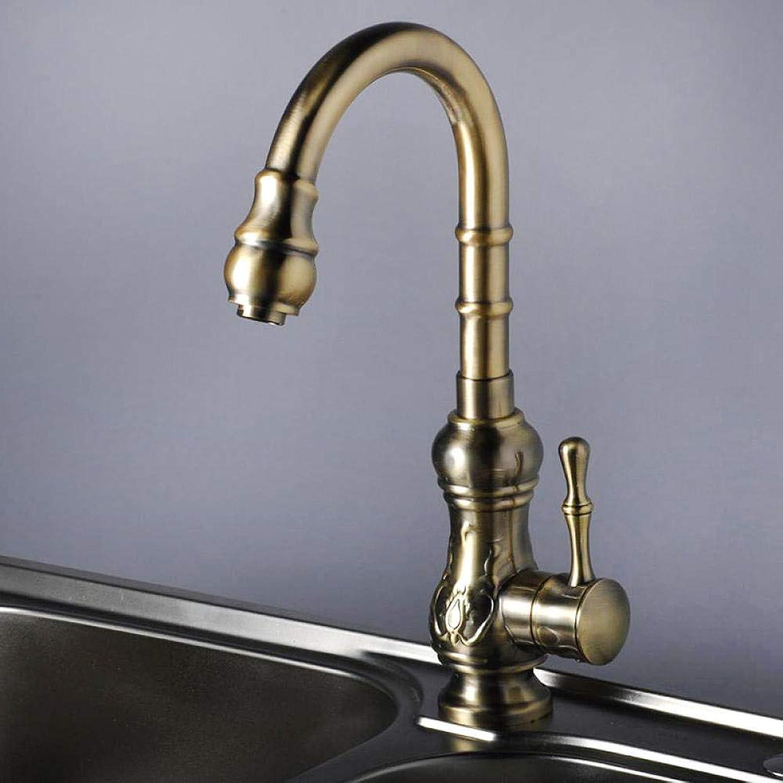 Messingchrom Heies Und Kaltes Wasser,Küchenarmatur Alle Kupfer Antiken Wasserhahn Rotierenden Wasser Küchenarmatur