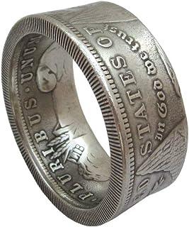 JOOLIXUACT Coin Ring Handcraft Rings Vintage Handmade from Morgan Dollar Random Date Eagle Chritmas Gift