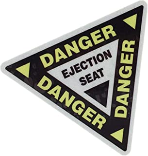 2PCS Car Styling Decals Vinyl Bumper Warning Danger Ejection SEAT Bike Motorcycle Guitar Laptop DIY Decorate Sticker 10x8.7cm