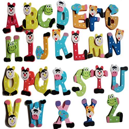 SMARTLADY 26 pcs Alfabeto A-Z de Dibujos Animados de Madera Imán Juguete Educativo para Bebé Niña Niño