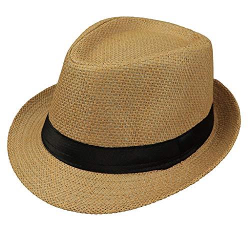 JOYKK Kinder Strohhut Sommer Strand Jazz Panama Trilby Fedora Hut Gangster Cap Outdoor Atmungsaktive Hüte Mädchen Jungen Sonnenhut - F # Camel