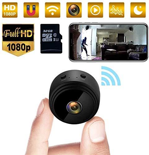 NUOBUGYB 1080p Hd Hot Link Grabadora de cámara de vigilancia remota, Mini cámara espía Wifi cámara de vídeo oculta, pequeña niñera portátil con visión nocturna blanca