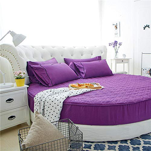 HPPSLT Protector de colchón/Cubre colchón Acolchado de Fibra antiácaros, Transpirable, Cama Redonda de algodón Color sólido Espesamiento Violeta Nuevo 1_1,6m