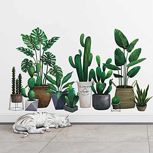 Green Pot Plants Leaves Wall Decals, Monstera Cactus Bonsai Tropical Potted Plants Wall Stickers, Removable Palm Tree Leaf DIY Art Decor Murals Decoration for Bedroom, Nursery, TV Wall