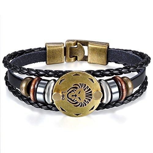 JewelryWe Schmuck Herren Damen Löwe Armband, 12 Tierkreis Sternzeichen Horoskop Charms Druckknopf Armreif, Leder Legierung, schwarz