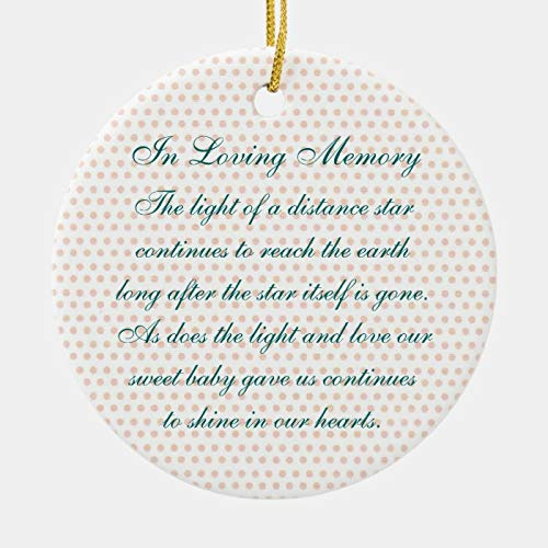 McC538arthy Personalized Christmas Memorial Ornament, in Loving Memory Baby Girl's Death Memorial Holiday Ceramic Keepsake Memorial Gifts Sympathy Gift Xmas Hanging Decor 3''