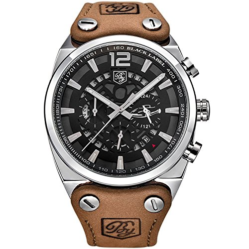 Watches Mens Fashion Business Quartz Watch with Brown Leather Classical Casual Wrist Watch for Men (Brown-Black)
