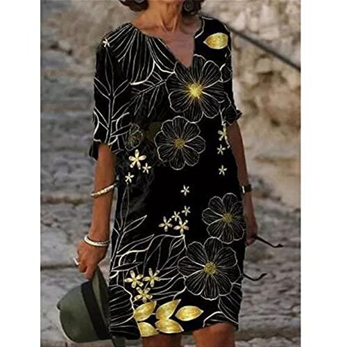 Media manga cuello en V estampado vestido suelto para mujer Vintage Vintage Primavera Otoño All-Match Plus Tamaño Vestidos de playa (Color : Style 4, Size : X-Large)