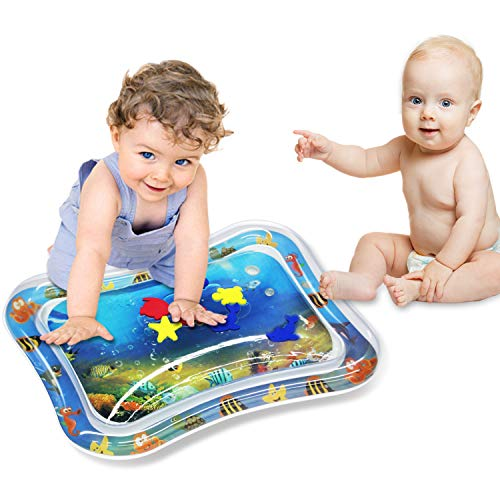 BSTC Inflatable Tummy Time Baby Water Mat, Water Mat Infants & Toddlers, The Perfect Fun Time Play Activity Center Your Baby's Stimulation Growth and Baby Toys for 3 6 9 Months - BPA Free