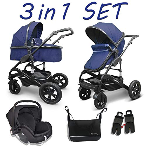 Cynebaby Kombi-Kinderwagen 3in1 (Kombi-Kinderwagen 3in1 mit Babyschale marine)