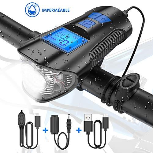 Tesecu Lampe Vélo LED Ordinateur, 3 en 1 Éclairage vélo avec Compteur LCD Écran et Sonnette...