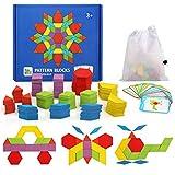 Ballery Blocchi Modello in Legno Set, 155 Pezzi Puzzle di Forma Geometrica educativo Apprendimento Giocattoli Montessori Set di Tangrams con 24 Carte Design e Stoccaggio Regalo per Ragazzi Ragazze