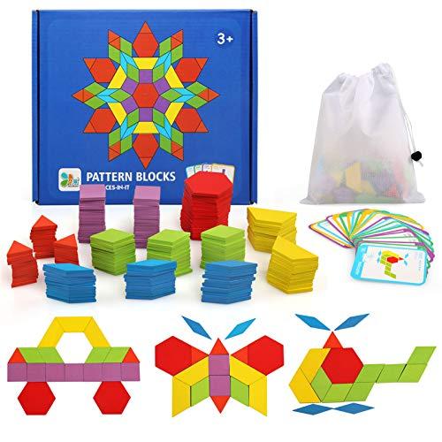 Ballery Blocs en Bois Géométrique Puzzle, 155 Pièces Tangrams Puzzle en Bois Blocs de Modèle Classiques éducatifs Jouets éducatifs avec 24 Cartes de Conception pour Les Petits Garçons Filles Enfant