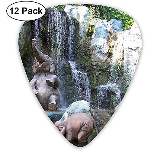 Leuke Baby Olifanten Spuitwater Klassieke Gitaar Picks (12 Pack) voor Elektrische Gitaar, Akoestische Gitaar, Mandoline en Bas