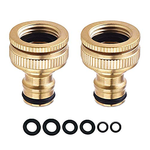 COSORO 2 Pack Garden Hose Tap Connector - 3/4 inch & 1/2 inch 2-in-1 Brass Female Threaded Tap Connector for Hosepipe, Threaded Faucet Adapter