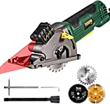Circular Saw, TECCPO 3500RPM Mini Circular Saw, Laser Guide, 3 Blades, Cutting Depth: 27mm, for Cutting Wood, Soft Metal and Ceramic Tile -TAPS22P