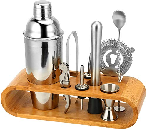 Shuban 10Pcs/Set - Stainless Steel Liquor Wine Cocktail Shaker Barware Set Includes Stirring Spoon, Measuring Jigger, Ice Tongs, Hand Mixer, Bottle Opener, Hawthorne Strainer, Stand – Silver