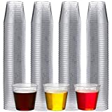 Plastic Shot Glasses - 200 Bulk Pack - 1 Ounce Shot Cups Clear Premium Mini Hard Plastic, Disposable and Reusable for Samples, Jello Shots, Bachelorette, Birthday Parties, Weddings, Dessert