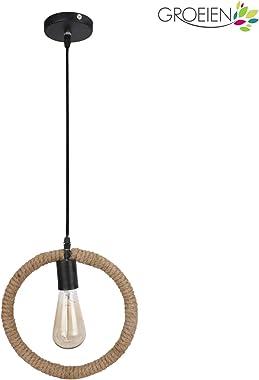 Groeien High Quality Urban Retro Round Shape Geometric Edison Lamp Rope Hanging/Pendant E27 Holder, Baze, Black