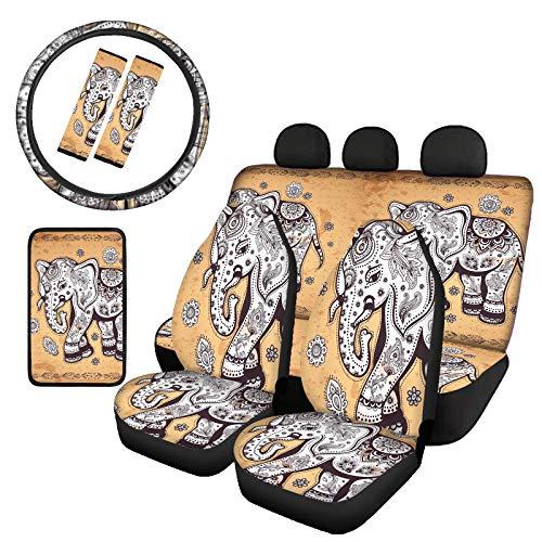 Binienty Juego de 8 fundas de asiento trasero delantero de coche, funda de volante de neopreno, cojín de apoyabrazos, almohadillas para cinturón de seguridad, estampado de elefante hippie tribal