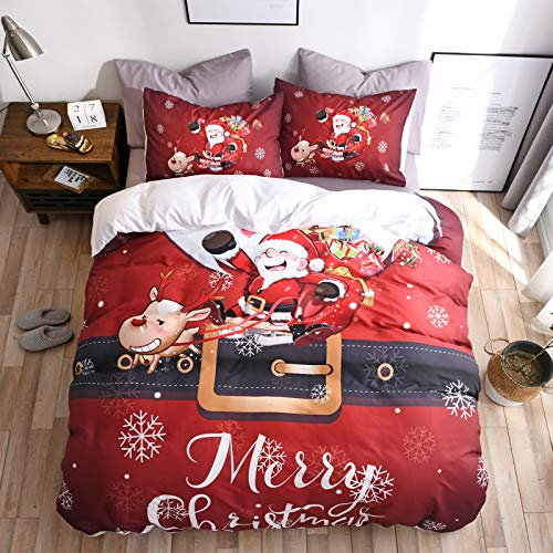 "ESOVIO Kid's Bedroom 3D Cartoon Merry Chirstmas Duvet Cover Set Happy Santa Claus Soft Quilt Set with Pillowcase (King(Quilt 102"" 91""))"