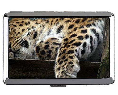 Silver Metal Cigarette Case,Leopard Leopard Hard Box and Holder(King Size)