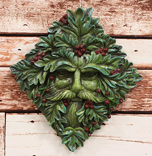 Ebros Nature Spirit God Summer Berry Diamond Shaped Celtic Greenman Hanging Wall Sculpture Decor Plaque 9' High Wiccan Tree Of Life Forest Shepherd Horned God Cernunnos Ent Mythical Fantasy Decorative