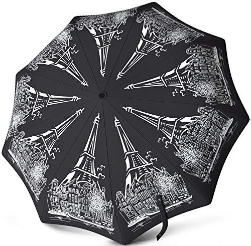 Windproof Travel Umbrella - Compact Auto Open Close - Water Repellent Teflon Coating - Rain, Snow, Sun Protection - Original...
