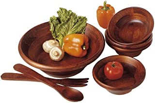 Lipper International 290-7 Cherry Finished Round Rim Serving Bowls with Server Utensils, 7-Piece Set, Assorted Sizes