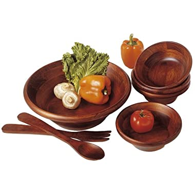 Lipper International 290-7 Cherry Finished Round Rim Serving Bowls with Server Utensils, 7-Piece Set, Assorted Sizes