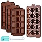 4 Paquetes Moldes de Chocolate de Silicona Ninonly Moldes de Bombones de Silicona 3 tipos flexible para antiadherente Candy Protein y Energy Bar Molde bandeja para hornear