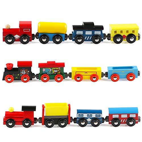 Jacootoys Juego de Tren de Madera de 12 Piezas, Juguetes Magnéticos para Niños Niñas, Compatibles con Las Principales Marcas