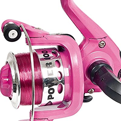FLADEN POWER 4-15 (1BB) Front Drag Fixed Spool Spinning Reel (Available in Blue, Black or Pink) - Great Junior Starter Reel (with 6lb line on) by FLADEN