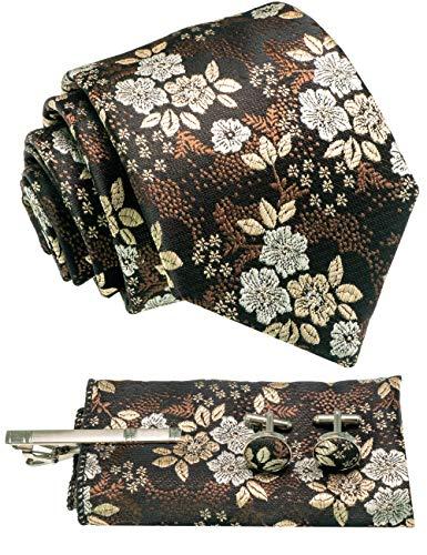 RBOCOTT Mehrere Farben Blumenmuster Krawatte Herren braun in Seide und Einstecktuch Krawattenklammer Manschettenknöpfe Set in Geschenkbox(7)