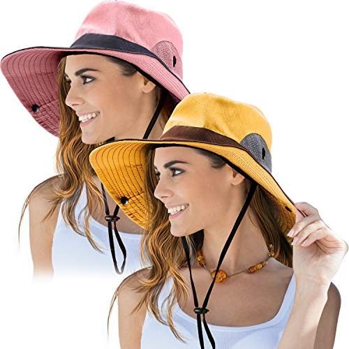 2 Pieces Women's Outdoor Sun Hat UV Protection Foldable Mesh Wide Brim Beach Fishing Cap (Pink, Yellow)