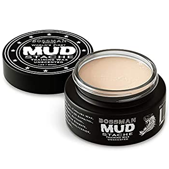 Bossman MUDstache Wax Unscented Mustache Wax - Mustach Grooming Care - Strong Hold for Taming Training and Styling  1oz